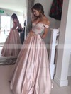 Ball Gown Off-the-shoulder Floor-length Satin Prom Dresses with Beading #Favs020104578