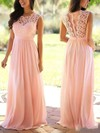 A-line Scoop Neck Floor-length Chiffon Prom Dresses with Lace #Favs020104579