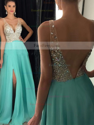 A-line V-neck Floor-length Chiffon Prom Dresses with Beading Split Front #Favs020104583