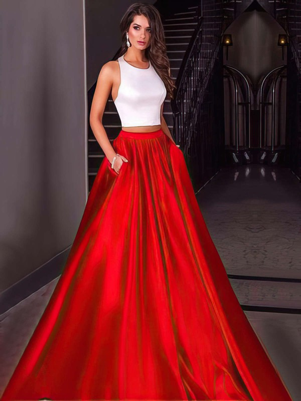 Ball Gown Halter Floor-length Satin Prom Dresses #Favs020104589