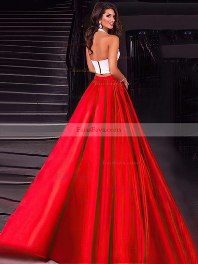 Ball Gown Halter Satin Floor-length Pockets Prom Dresses #Favs020104589