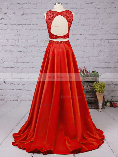 A-line Scoop Neck Satin Floor-length Beading Prom Dresses #Favs020104590