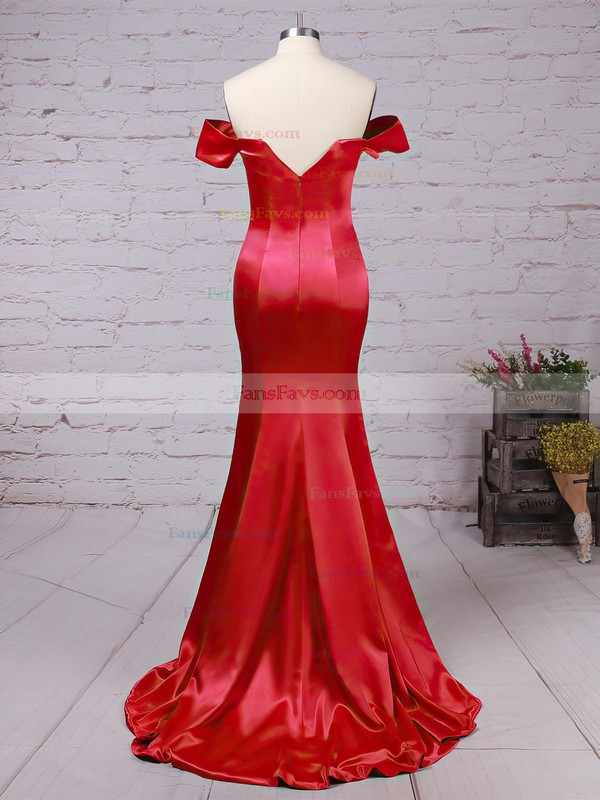 Trumpet/Mermaid Off-the-shoulder Silk-like Satin Sweep Train Split Front Prom Dresses #Favs020104594