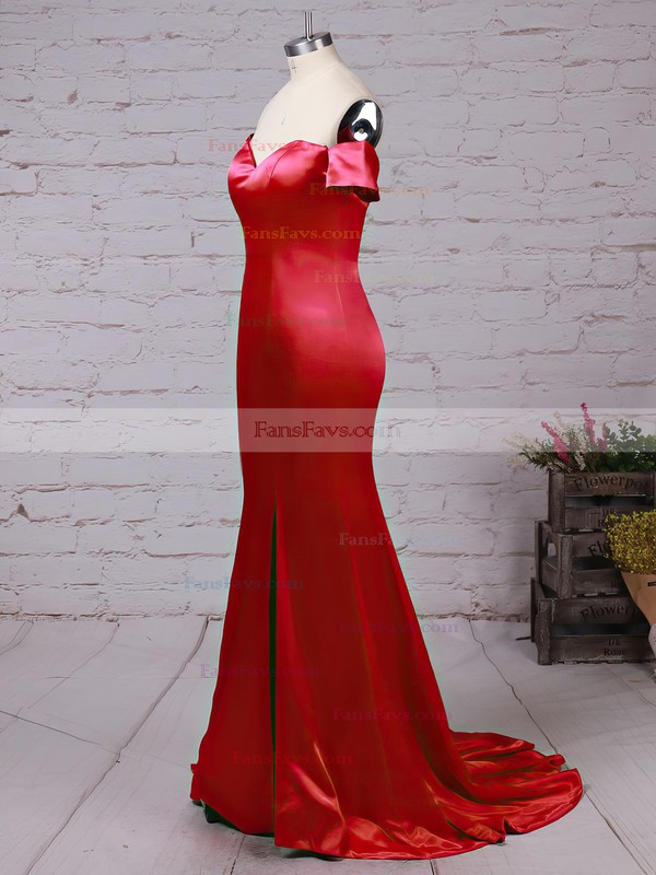 Trumpet/Mermaid Off-the-shoulder Sweep Train Silk-like Satin Prom Dresses with Split Front #Favs020104594