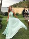 A-line Halter Floor-length Chiffon Prom Dresses #Favs020104602