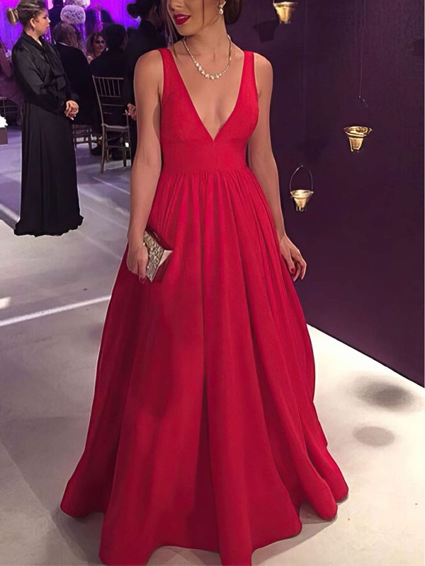 Ball Gown V-neck Silk-like Satin Floor-length Bow Prom Dresses #Favs020104603