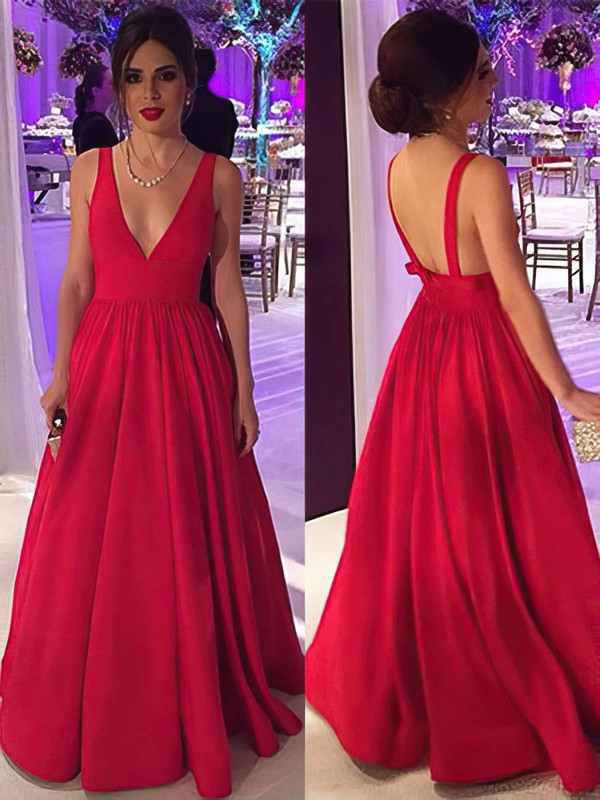 Ball Gown V-neck Floor-length Satin Prom Dresses with Ruffle #Favs020104603