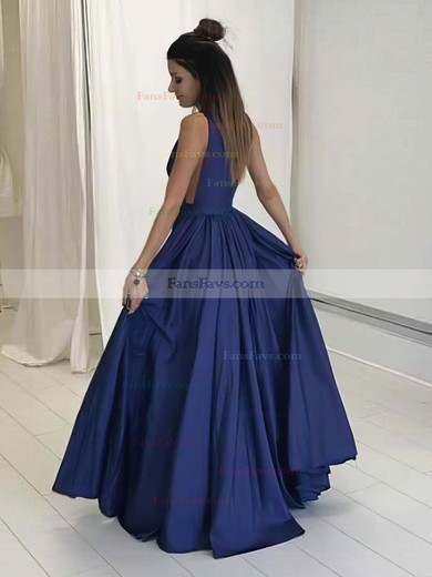 A-line V-neck Floor-length Satin Prom Dresses with Ruffle #Favs020104605