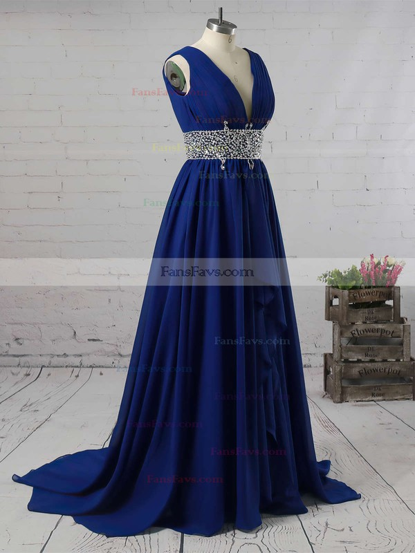 A-line V-neck Chiffon Sweep Train Beading Prom Dresses #Favs020104606