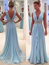 A-line V-neck Sweep Train Chiffon Prom Dresses with Beading Ruffle #Favs020104606
