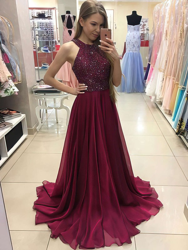 A-line Scoop Neck Floor-length Chiffon Prom Dresses with Beading #Favs020104608