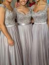 A-line V-neck Chiffon Floor-length Beading Prom Dresses #Favs02015284