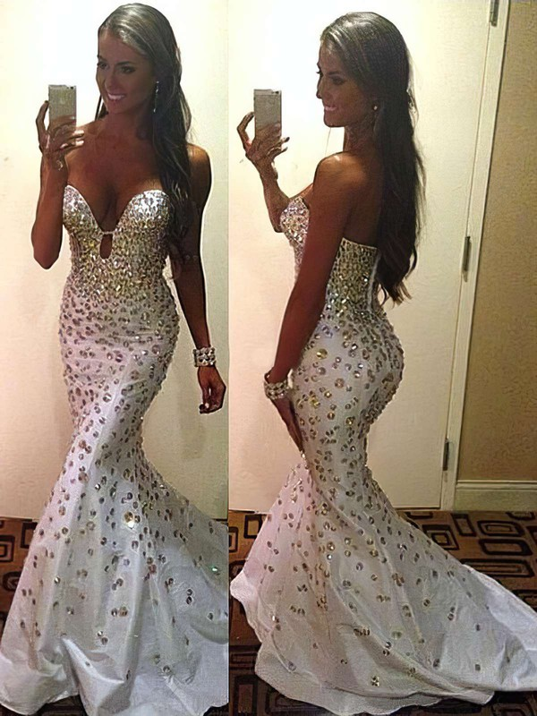 Trumpet/Mermaid Sweetheart Sweep Train Taffeta Prom Dresses with Beading #Favs02016139