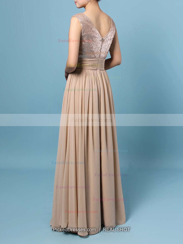 A-line V-neck Chiffon Sequined Floor-length Prom Dresses #Favs02016329