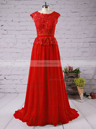 A-line Scoop Neck Floor-length Chiffon Prom Dresses with Appliques Lace Bow #Favs02016789