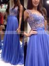 A-line Scoop Neck Chiffon Floor-length Appliques Lace Prom Dresses #Favs02018717