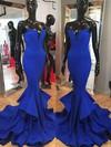 Trumpet/Mermaid Strapless Sweep Train Silk-like Satin Prom Dresses with Ruffle #Favs02018950