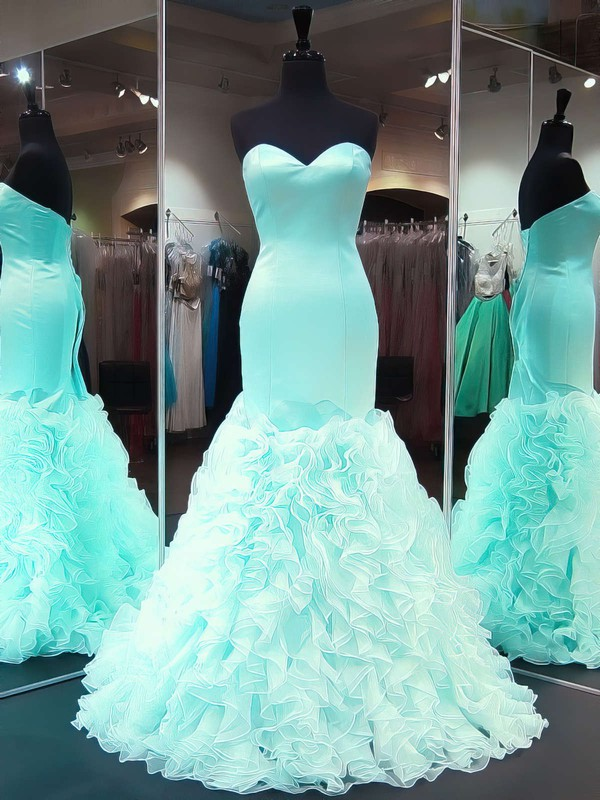 Trumpet/Mermaid Sweetheart Organza Silk-like Satin Sweep Train Cascading Ruffles Prom Dresses #Favs020103488