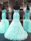 Trumpet/Mermaid Sweetheart Sweep Train Organza Satin Prom Dresses with Cascading Ruffle #Favs020103488