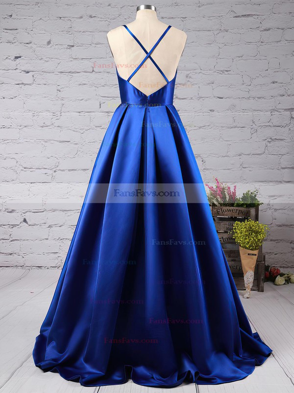 A-line V-neck Sweep Train Satin Prom Dresses with Ruffle #Favs02019053