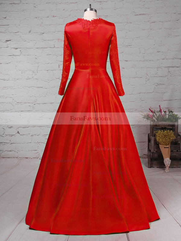 Ball Gown Scoop Neck Satin Sweep Train Appliques Lace Prom Dresses #Favs02023575