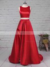 A-line Scoop Neck Sweep Train Satin Prom Dresses with Split Front #Favs020104803