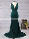 Trumpet/Mermaid V-neck Sweep Train Silk-like Satin Prom Dresses with Ruffle #Favs020103526