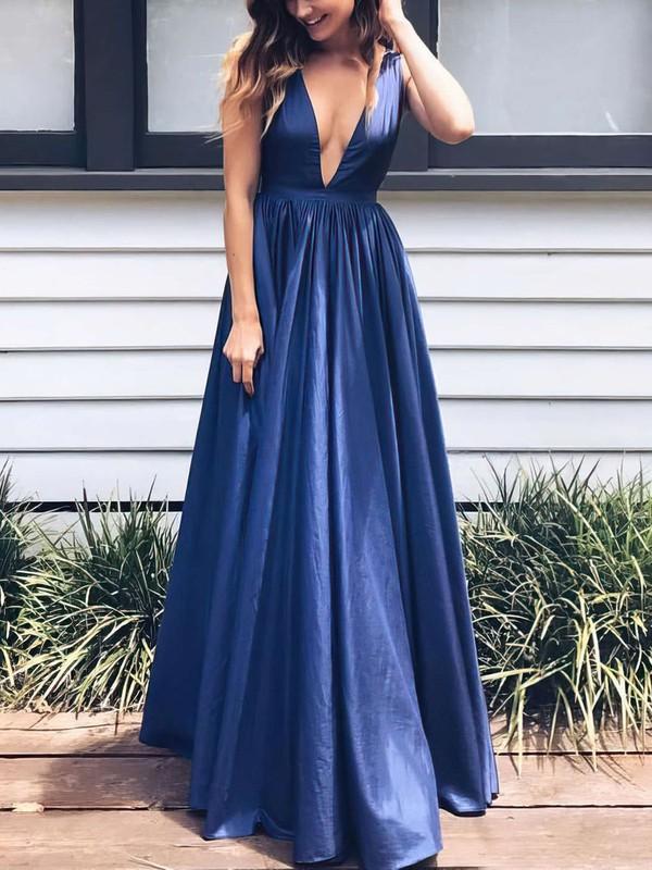 A-line V-neck Floor-length Taffeta Prom Dresses #Favs020104807