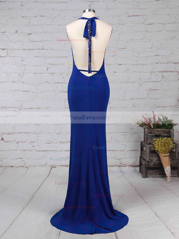Trumpet/Mermaid Halter Jersey Floor-length Sequins Prom Dresses #Favs020104808