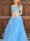 A-line Off-the-shoulder Tulle Floor-length Appliques Lace Prom Dresses #Favs020104809