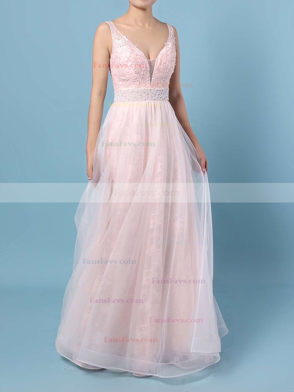 Princess V-neck Floor-length Tulle Prom Dresses with Appliques Lace Beading #Favs020104814
