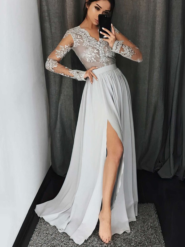 A-line V-neck Silk-like Satin Floor-length Appliques Lace Prom Dresses #Favs020104820