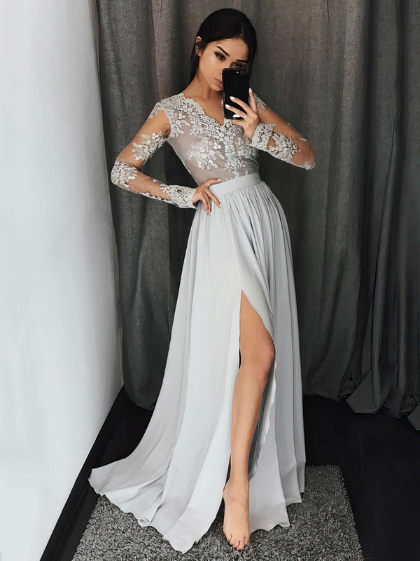 A-line V-neck Floor-length Chiffon Prom Dresses with Appliques Lace Split Front #Favs020104820