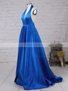 A-line Halter Floor-length Satin Prom Dresses with Ruched Split Front #Favs020104823