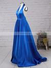 A-line Halter Satin Floor-length Split Front Prom Dresses #Favs020104823