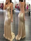 Sheath/Column V-neck Sequined Sweep Train Prom Dresses #Favs020104423