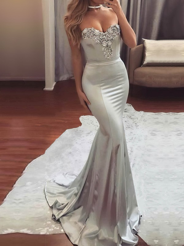 Trumpet/Mermaid Sweetheart Silk-like Satin Sweep Train Beading Prom Dresses #Favs020104831