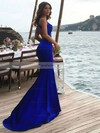 Trumpet/Mermaid Scoop Neck Sweep Train Silk-like Satin Prom Dresses #Favs020104835