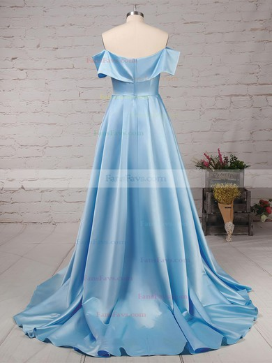 Princess Off-the-shoulder Satin Sweep Train Split Front Prom Dresses #Favs020104840
