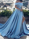 Princess Off-the-shoulder Sweep Train Satin Prom Dresses with Split Front #Favs020104840