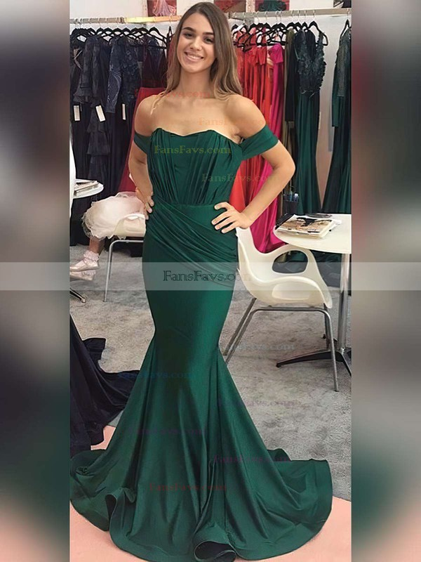 Trumpet/Mermaid Off-the-shoulder Jersey Sweep Train Ruffles Prom Dresses #Favs020104844