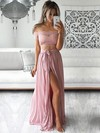 A-line Off-the-shoulder Chiffon Floor-length Sashes / Ribbons Prom Dresses #Favs020104851