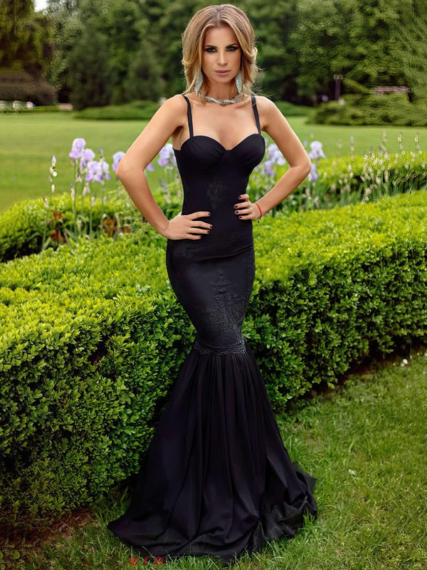 Trumpet/Mermaid Sweetheart Silk-like Satin Floor-length Appliques Lace Prom Dresses #Favs020103550