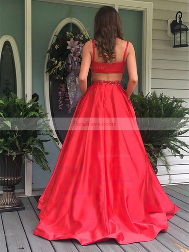 Princess Scoop Neck Floor-length Satin Prom Dresses with Beading Sashes #Favs020104862