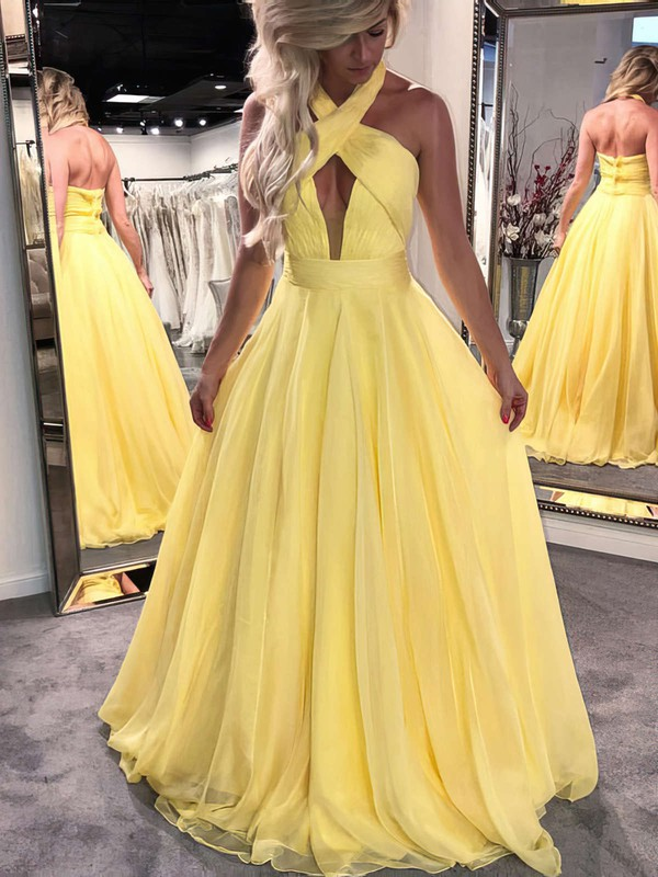 Princess Halter Chiffon Floor-length Sashes / Ribbons Prom Dresses #Favs020104877