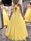 Princess Halter Floor-length Chiffon Prom Dresses with Ruffle #Favs020104877