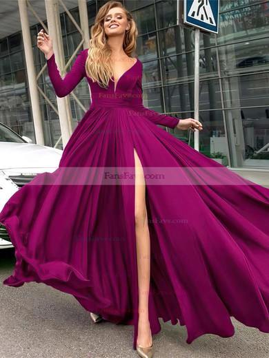 A-line V-neck Floor-length Satin Chiffon Prom Dresses with Ruffle Split Front #Favs020104878