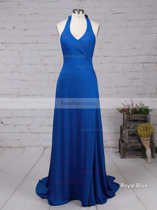 Sheath/Column V-neck Jersey Sweep Train Split Front Prom Dresses #Favs020103559