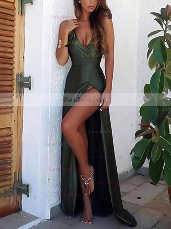 Sheath/Column V-neck Sweep Train Silk-like Satin Prom Dresses with Split Front #Favs020103559