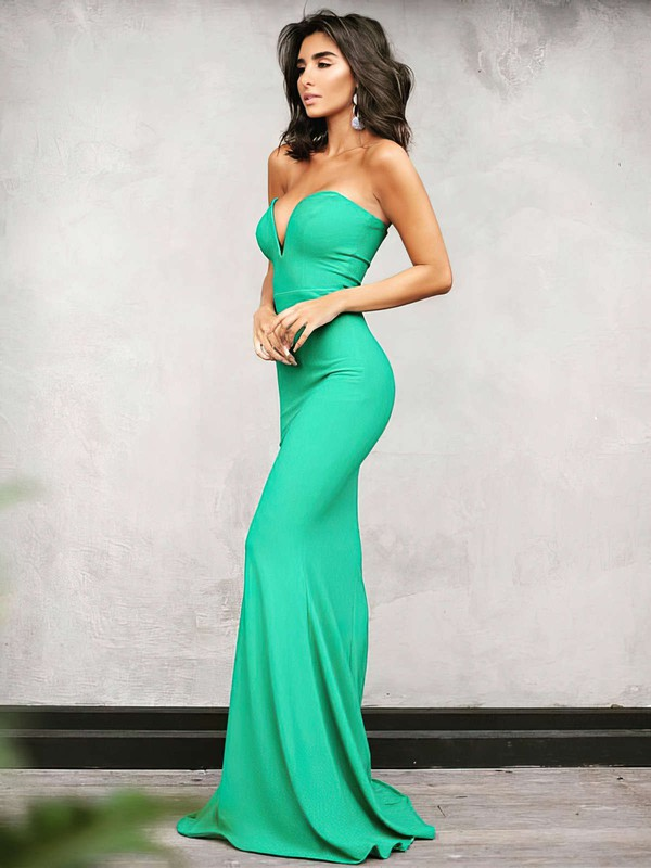 Trumpet/Mermaid V-neck Silk-like Satin Floor-length Prom Dresses #Favs020104889